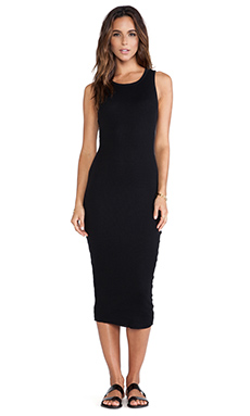 James Perse Cashmere Rib Tank Dress in Black