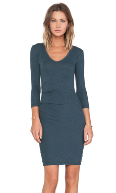 James Perse Double V Tucked Dress in Laurel
