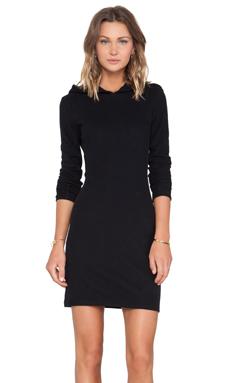 James Perse Brushed Fleece Hooded Dress in Black