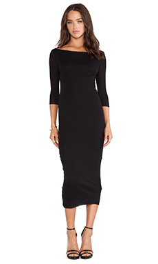 James Perse Cashmere Rib Boatneck Dress in Black