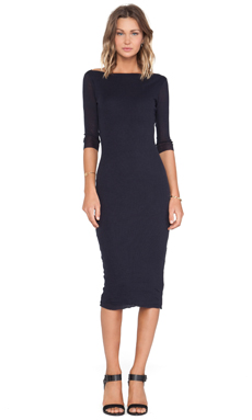 James Perse Cashmere Rib Boatneck Dress Deep