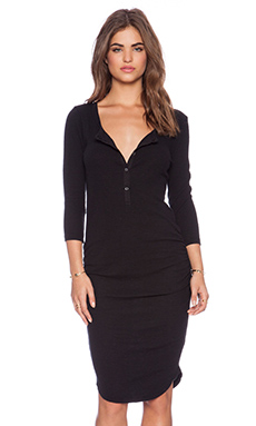 James Perse Thermal Henley Dress in Black