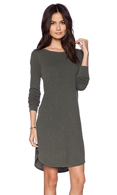 James Perse Vintage Fleece Swing Dress in Fir