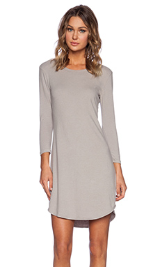 James Perse Curved Hem Jersey Dress in Shadow
