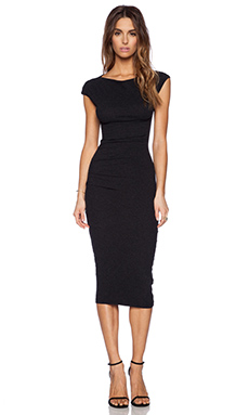 James Perse Sleeveless Tucked Dress in Black