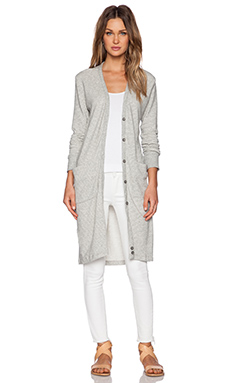 James Perse Long Fleece Cardigan in Heather Grey Stripe