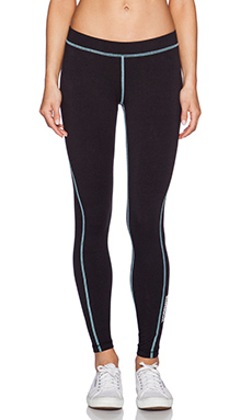 James Perse Yosemite Spiral Seam Yoga Pant in True Black & Sky