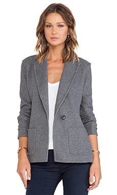 James Perse Fleece Open Peacoat in Heather Charcoal