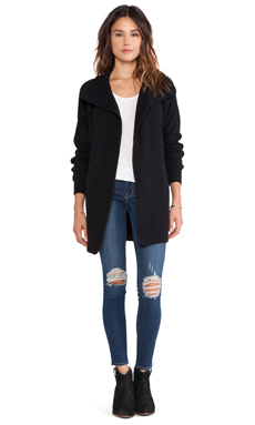 James Perse Raglan Fleece Coat in Black