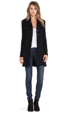 James Perse Military Fleece Coat in Black