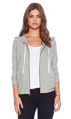 James Perse Vintage Cotton Hoodie in Heather Grey