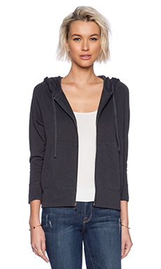 James Perse Vintage Cotton Hoodie in Railing