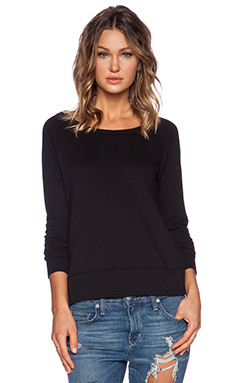 James Perse Classic Long Sleeve Raglan Sweatshirt in Black