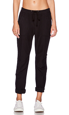 James Perse Knit Twill Utility Pant in Black