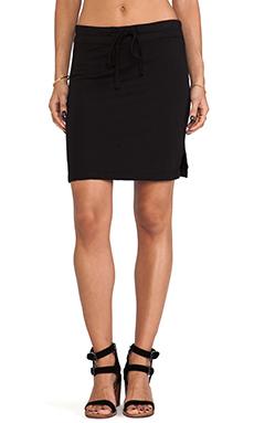 James Perse Drawstring Vintage Cotton Skirt in Black