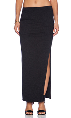 James Perse Brushed Jersey Long Split Skirt in Black