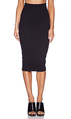 James Perse High Waisted Jersey Skirt in Black
