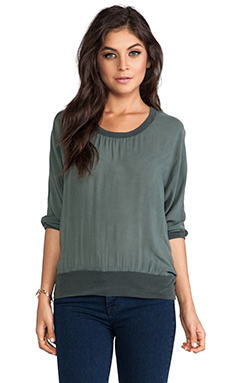 James Perse Chiffon Sweatshirt in Forest Green
