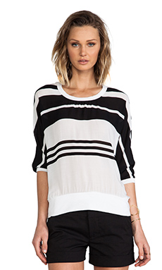 James Perse Striped Chiffon Sweat Shirt in Black