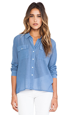 James Perse Silk Blend Pocket Shirt in Denim