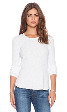 James Perse Long Sleeve Thermal Tee in White