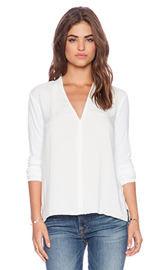 James Perse Draped Fold Deep V Top in White