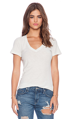 James Perse Casual Tee with Reverse Binding in Tusk