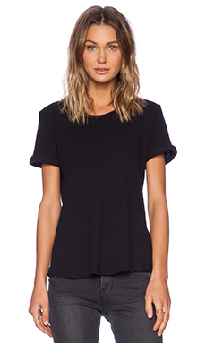 James Perse Rolled Sleeve Thermal Tee in Black