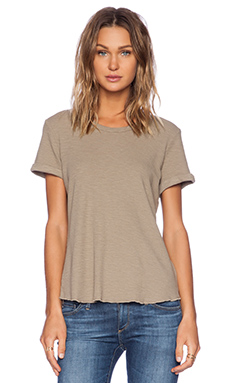 James Perse Rolled Sleeve Thermal Tee in Clay