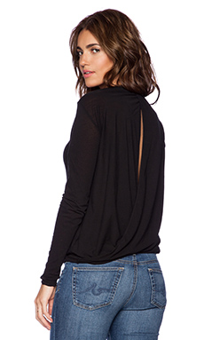 James Perse Drape Back Long Sleeve Top in Black