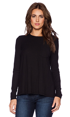 James Perse A-Line Pocket Tee in Black