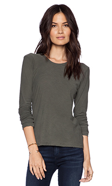 James Perse Long Sleeve Crew in Fir