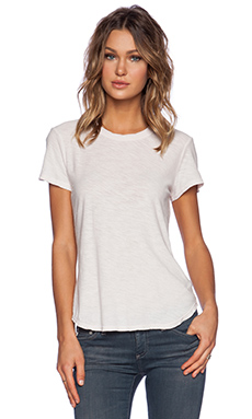 James Perse Sheer Slub Crew Neck Tee in Pink Salt
