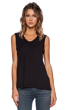 James Perse Reverse Binding Tank in Black