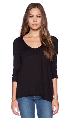 James Perse Soft V Long Sleeve Tee in Black
