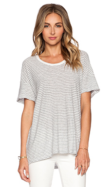 James Perse Stripe Split Hem Tee in White