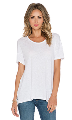 James Perse Split Hem Tee in White