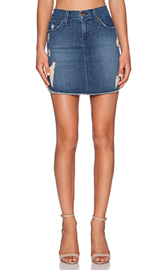 James Jeans Daisy Scalloped Hem Cut-Off Skirt in indigo