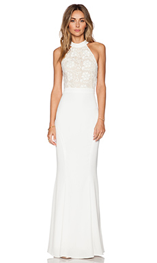 JARLO Lace Caden Maxi Dress in White