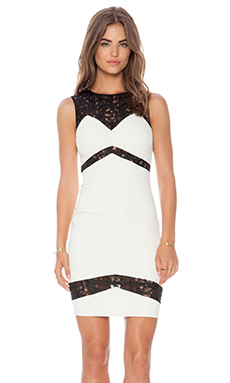 Jay Godfrey Frehley Dress in Ivory & Black