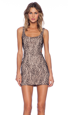 Jay Godfrey Lockhart Lace Cut Out Dress in Black & Nude