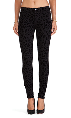 J Brand Leopard Skinny Jean in Black Cat