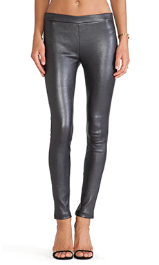 J Brand Leather Legging in Pewter