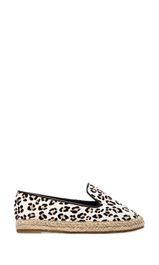 Jeffrey Campbell Abides-F Flat with Calf Fur in Black & White Cheetah