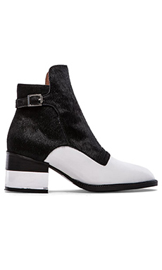 Jeffrey Campbell Leto Bootie with Cow Hair in White & Black Hair