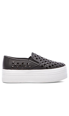 Jeffrey Campbell WTF Cut Out Sneaker in Black & White