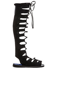 Jeffrey Campbell Olympus Gladiator Sandal in Black Embossed Numbuck