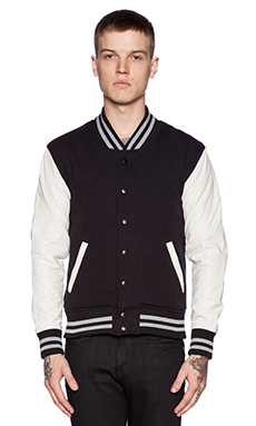 John Elliott + Co Stadium Jacket in Black/White