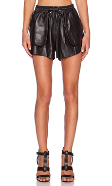 Jennifer Kate Leather Drawstring Short in Black