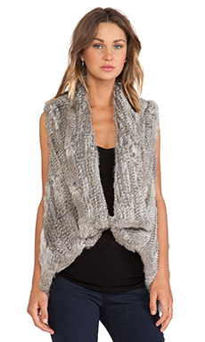 Jennifer Kate Promenade Rabbit Fur in Natural Grey